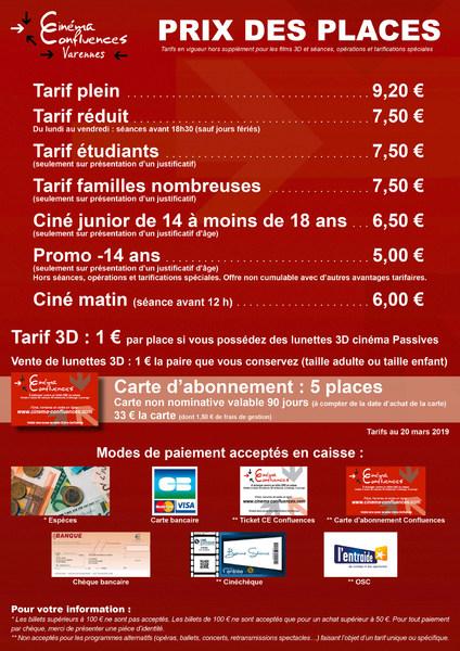 Les tarifs du Varennes - Cinéma Confluences